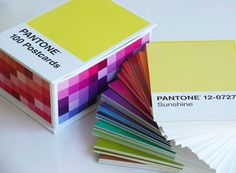100 Pantone postcards. LOVE!! Would it be weird if I just taped these to the wall in the loft?