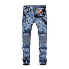 >> Click to Buy << Night Club Men's Jeans 2017 Denim Light Blue Ripped Jeans Trousers  28-38 Cotton Straight Slim Fit Mens Brand Jeans #Affiliate