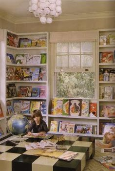 children's books face out on bookcase- great idea for a play space. Kelly Wearstlers children's library via Cookie magazine (Nov 09)