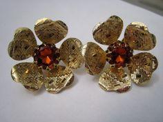 Vintage Gold Flower Orange Rhinestone Earrings Signed by Glamaroni, $15.00