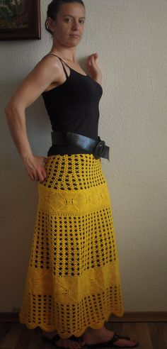 Yellow crochet long skirt  READY TO SHIP by shenevski on Etsy, €95.00