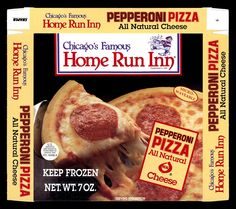 Home Run Inn frozen pizza box - circa 1990.