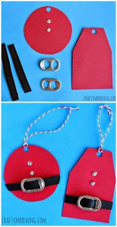 Christmas Crafts - DIY Santa Clause Gift Tags Using Soda Can Tabs! Cheap Christmas craft for kids t. Christmas Crafts For Kids, Christmas Wrapping, Christmas Projects, Winter Christmas, Holiday Crafts, Holiday Fun, Christmas Cards, Christmas 2019, Diy Christmas Gift Tags