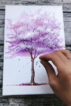 Canvas Painting Tutorials, Diy Canvas Art, Acrylic Painting Canvas, Diy Painting, Beginner Painting, Sponge Painting, Acrylic Painting For Beginners, Painting & Drawing, Cherry Blossom Painting