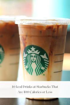 10 Iced Drinks at Starbucks That Are 100 Calories or Less - Healthy Recipes Low Calorie Starbucks Drinks, Healthy Starbucks Drinks, Iced Coffee Drinks, Low Calorie Drinks, Starbucks Recipes, Coffee Recipes, Yummy Drinks, Healthy Drinks, Starbucks Calories