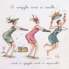 , Ladies Who Love Life ... Berni Parker funny cute art Cards » A wiggle and a walk » A wiggle and a walk - Berni Parker Designs