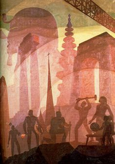 Aaron Douglas: Building Stately Mansions, 1944