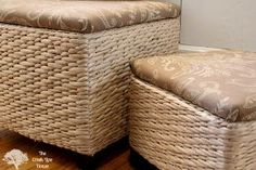 diy reupholstered ottomans, painted furniture, reupholster
