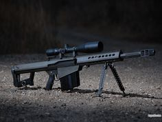 Barrett M82A1M  Caliber: .50 BMG (12.7 x 99mm) Operation: Short Recoil, Semi-Automatic Overall Length: 1448 mm Barrel Length: 737 mm Feed Device: 10 Round Detachable Box Magazine Sights: 10X Telescopic Weight: 12.9 kg empty Muzzle Velocity: 854 m/s (M33 Ball) Max Effective Range: 1800 meters Expected accuracy: 1.5 - 2.0 MOA or better