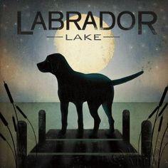 Moonrise Black Dog - Labrador Lake by Ryan Fowler Signs Dogs Lab Animals Print Poster