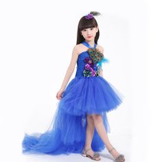 Aliexpress.com   Buy Lovely Royal Blue High Low Flowers Peacock Feather Flower  Girl Dresses 2017 New Arrival Girls Children Pageant Dress Kids F8 from ... 62d9143fe3d9