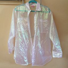 American apparel organdy oversized button up This color tint is no longer sold on the american apparel website. Selling at retail value because of it. Perfect statement piece or just beach coverup. Only worn out once for imats. American Apparel Tops Button Down Shirts