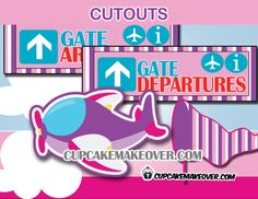Decorate your girl's airplane themed event with these adorablecut-outs! #cupcakemakeover