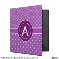 Purple Polka Dot Quatrefoil 3 Ring Binder