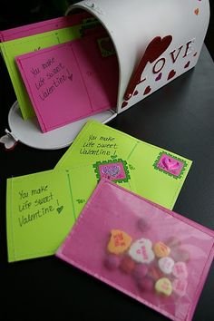 valentine postcards - wax paper