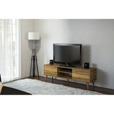 Corrigan Studio Kenna Stylish TV Stand for TVs up to 65 Corrigan Studio Solid Wood Tv Stand, Cool Tv Stands, Modern Rustic Interiors, Open Shelving, Shelves, Counter Stools, Bar Counter, Entertainment Center, Tv Stands