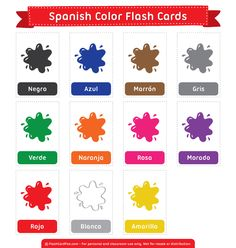Free printable Spanish color flash cards. Download them in PDF format at http://flashcardfox.com/download/spanish-color-flash-cards/