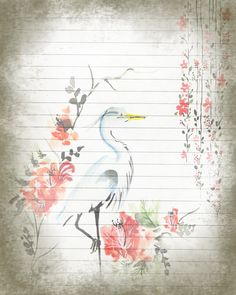 A personal favorite from my Etsy shop https://www.etsy.com/listing/474433279/printable-journal-pagecrane-bird-writing  #digitalpaper #printablestationery #journalpaper #writingpaper #crane
