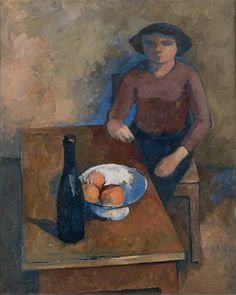 William Scott, Girl at a Table, 1938, Oil on canvas, 81.8 × 65 cm / 32¼ × 25½ in, Private collection