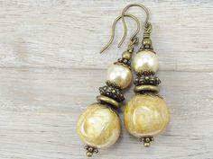 Cream Earrings  Antique Brass Czech Glass and by OstaraMoonJewelry, $17.95