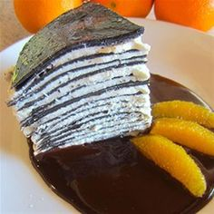 """Chocolate Crepe Cake with Salted Chocolate Orange Sauce I """"This was a lot of work, but oh so worth it!"""""""