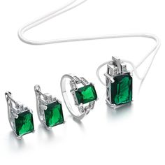 2017 Stylish Jewelry Set for women Engagement green zircon silver color The best choice for wedding party gift