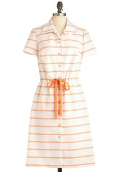 Vintage Peach and Every Dress. Youll be welcomed with a bushel of compliments when you arrive at the evening barbeque in this enchanting vintage frock!  #modcloth