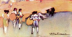 Pablo Picasso - Bullfighters and bull waiting for the next move [1900]   Post-impressionistisch schilderij uit de vroege periode.