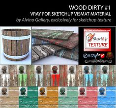 SKETCHUP TEXTURE: Dirty wood vismat material v-ray for sketchup #1