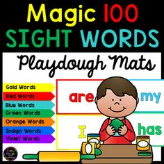 Magic 100 Sight Words Playdough Mats BUNDLE.This bundle includes playdough mats for each of the colour levels in the Magic 100 sight word list. There are a 100 different sight word playdough mats included in this pack. Both a color and black and white version have been included, giving a total of 200 sight word playdough mats.