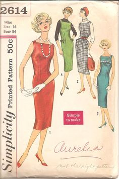 1950s Womens Slim Dress Jumper  Simplicity 2614 by ErikawithaK