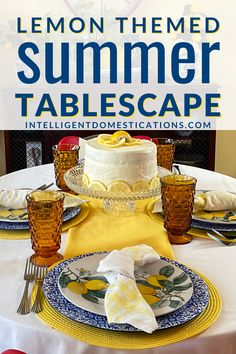 Ideas for creating a bright summer lemon tablescape in the kitchen. #lemontabledecor #tabalescape #lemons Blue Pillar Candles, Yellow Placemats, Diy Home Accessories, Seasonal Celebration, Diy House Projects, Lemon Recipes, Do It Yourself Home, Easter Table, Tablescapes