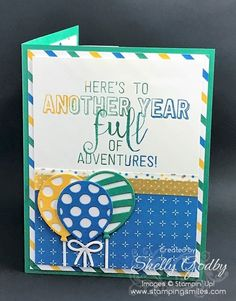 Make a pop-up card with the Stampin' Up! Balloon Adventures Stamp Set and Balloon Pop-Up Thinlits Dies from the 2017 Stampin' Up! Occasions Catalog card idea by Shelly Godby of www.stampingsmiles.com
