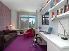 Similar shaped room to mine  (pinned Dec 2012)  http://www.beinteriordecorator.com/wp-content/uploads/2010/04/purple-study-room-of-1-morton-square.jpg