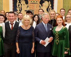 Prince Charles, Prince of Wales and Camilla, Duchess of Cornwall pose with performers during a reception and concert featuring performers from Northern Ireland at Hillsborough Castle on May 21. 2015 in Belfast, Northern Ireland. Prince of Wales and the Duchess of Cornwall will attend a series of engagements in Northern Ireland following their visit in the Republic of Ireland.