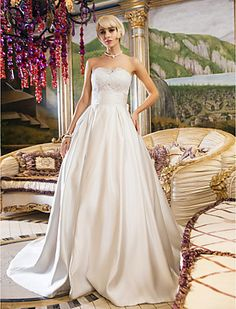 Ball Gown Queen Anne Court Train Satin And Lace Wedding Dress (699598) - EUR € 126.78