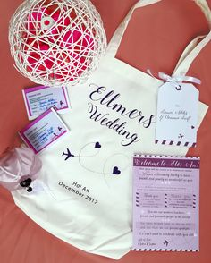 Travel goodies in a welcome bag designed and printed by us Rustic Wedding, Our Wedding, Destination Wedding, Welcome Bags, Hoi An, Wedding Favours, Wedding Designs, Dreaming Of You, Favors
