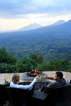 In Virunga you can relax in the evening in the shadow of the mountain. It's very romantic...(Volcanoes Safaris Lodges)