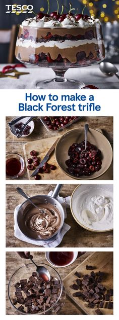 christmas food Bring this seriously impressive Black Forest trifle to the table this Christmas. our step-by-step recipe and layer up fudgy brownies, creamy chocolate custard and juicy cherries for an indulgent twist on a classic. Xmas Food, Christmas Cooking, Christmas Desserts, Tesco Christmas, Christmas Christmas, Christmas Trifle, Christmas Buffet, Christmas Chocolate, Fall Food