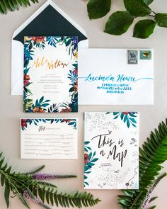 tropical garden party copper foil wedding invitations from Haley at Australian creative studio The Distiller