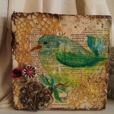 Bird art painting, original collage, mixed media bird art, small art peice OOAK, painted paper art, assemblage art vintage jewelry, USA made by TheRustyWanderer on Etsy