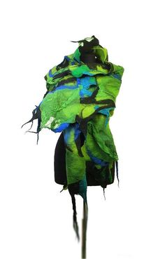 Felted Scarf GREEN scarf Nunofelt Scarf / DESIGNER scarf / EXCLUSIVE felted scarf by 'filcant' on Etsy★❤★
