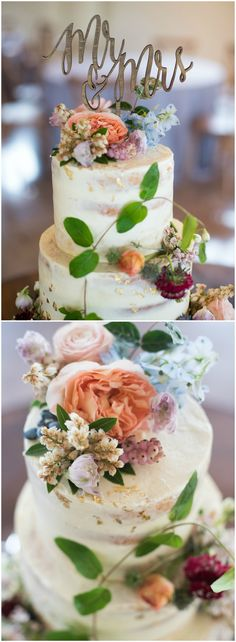 """Naked cake, gold flakes, wooden """"Mr. & Mrs."""" cake topper, pastel florals // Mandi Mitchell Photography"""