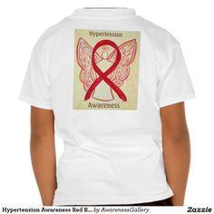 Hypertension Awareness Red Ribbon Angel Tee Shirts