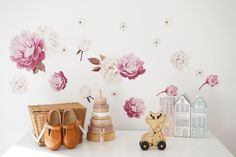 Peony flower Set - Individual cut out flowers. Kids Wall Decals, Wall Sticker, Anemone Flower, Bunch Of Flowers, One Color, Your Space, Peonies, Nursery, Colours