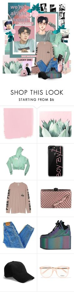 """""""Lucky One"""" by muzikgurl ❤ liked on Polyvore featuring Casetify, Victoria's Secret, Edie Parker, Levi's, Y.R.U., rag & bone, Chloé and Wild Eye Designs"""
