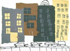 "Art Projects for Kids: Cut and Tear Cityscape Collage from ""The Usborne Book of Art Skills"" - great book! City Collage, Paper Collage Art, Canvas Art Projects, School Art Projects, School Ideas, School Craft, Craft Projects, Programme D'art, 2nd Grade Art"