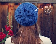 Cobalt Blue Chunky Knit Beanie // Slouchy Knit Textured Beanie