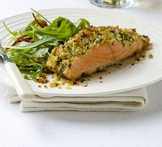 Parmesan & parsley-crusted salmon.  Made this with a few adjustments and it was FANTASTIC!  I used lemon zest and lemon juice in the mixture, instead of lime.  And Panko crumbs instead of bread crumbs.