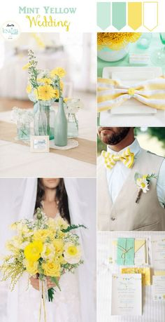 Mint wedding ideas - mint and yellow wedding ideas - summer color wedding combinations - summer wedding color palette Yellow Wedding Colors, Summer Wedding Colors, Yellow Weddings, Spring Weddings, Garden Weddings, Summer Colors, Romantic Weddings, Pastel Weddings, Burgundy Wedding